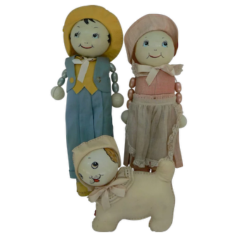 Rare Richard Krueger Rattle Doll set of 3 with Dog Super cute all original.