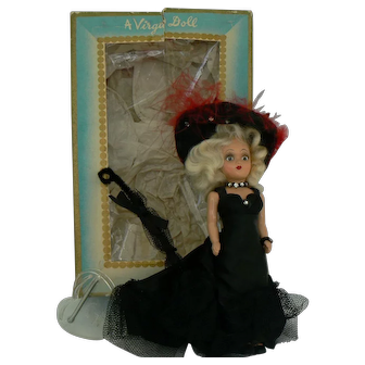 Vintage Virga Mae West Hard Plastic doll all original with Box and HTF.