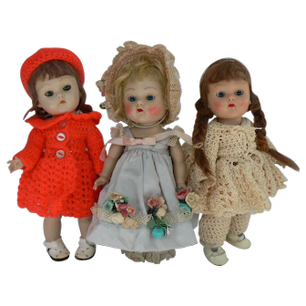 Vogue Ginny painted lash strung 3 dolls cute need TLC