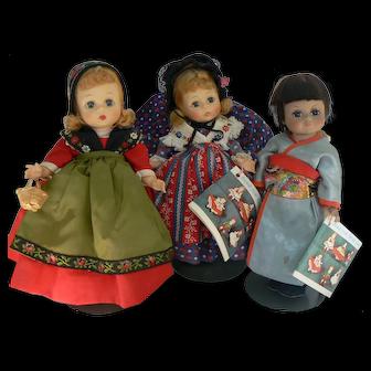 3 Vintage Madame Alexander International Dolls all original and tags.