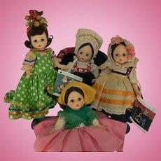 4 Vintage Madame Alexander International Dolls all original and tags.