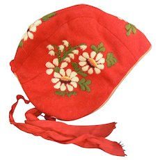 Vintage Large doll or Baby hat Red with white flowers too cute.