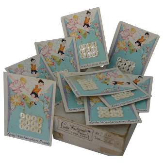 Vinatge Lady Washington Pearl Buttons MINT in Box and GREAT for doll outfits 10 Cards total.