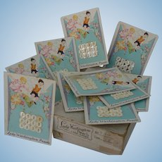 Vintage Lady Washington Pearl Buttons MINT in Box and GREAT for doll outfits 10 Cards total.