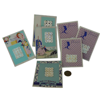 7 Vinatge Mint on Card Pearl Buttons GREAT for doll outfits OLD.