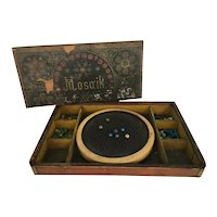 Early wood Mosaik game for children with glass beads Ca.1890's Great for your dolls.