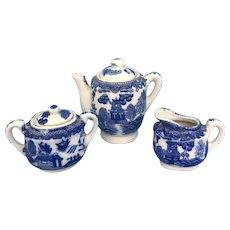 Vintage Blue Willow tea pot, creamer n sugar set for doll or Child