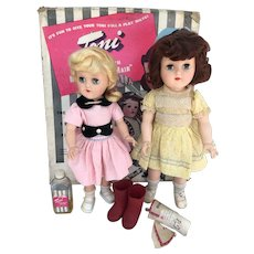 Ideal P-90 and P-91 Toni dolls all original with box.
