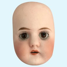 Antique bisque half doll head face OLD