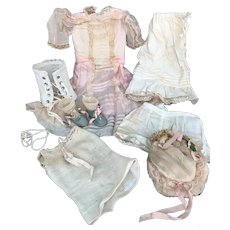 Antique doll dress, undergarments, shoes, socks and hat. must see