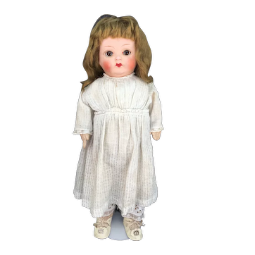 Early glass sleep eye composition doll cloth body original