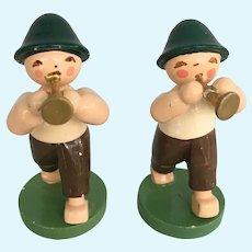 Two Erzgebirge boys with horns wood handmade