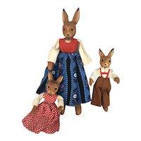 Vintage German Wood Rabbit Mom n brother n sister dolls Erzgebirge