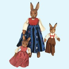 Vintage German Wood Rabbit Mom n brother n sister dolls Erzgebirge