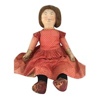 Big Antique cloth doll all original hand painted face Great