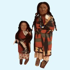 TWO Skookum Indian dolls with Papoose larger size