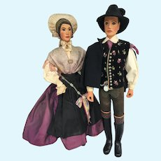 Wonderful Wood carved Man and Woman dolls all original
