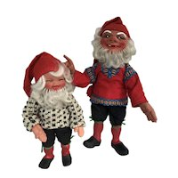 PAIR of Vintage Gnomes Elf Troll like dolls
