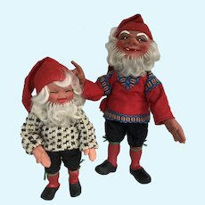 PAIR of Vintage Gnomes Elf Troll like dolls