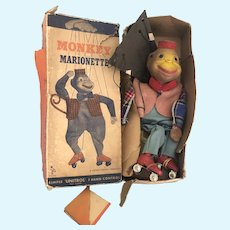 1950's Monkey Marionette with box