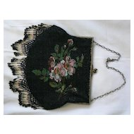 Vintage Micro Beaded Purse floral pretty