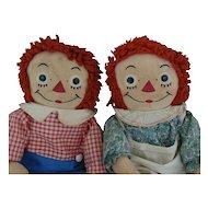 "Georgene Raggedy Ann & Raggedy Andy 19"" Pair De Semone Tag"