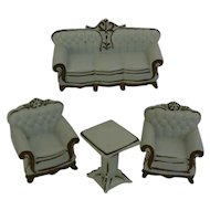 4 piece doll house size China sofa, chairs and table set Vintage OLD