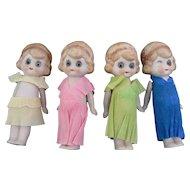 Vintage German Bisque Dolls with Glass eyes CUTE look.