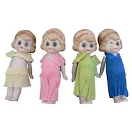 Vintage German Bisque Dolls with Glass eyes CUTE look.