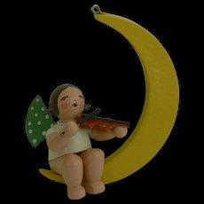 Vintage Erzgebirge Folk Art Wood Angel on Moon Christmas Ornament sweet.