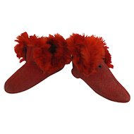 Old Christmas RED doll child Slippers shoe GREAT for a doll.