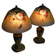 Moe Bridges PAIR of Lamps with Flowers and Butterfly both shades and lamps are signed Must See very Pretty.