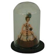 Vintage Elaine Cannon mini doll under glass dome 40's - 50's era.