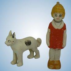 German Bisque Little Orphan Annie Nodder with Sandy her dog.