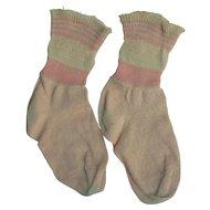 Vintage Pink and White doll socks