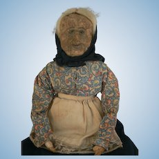 Very OLD apple/wax head old woman doll all original.