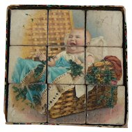 Antique Litho Childs Puzzle Blocks makes 6 with original box bottom and 4 paper guides very Sweet.