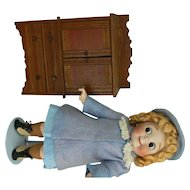 Antique doll cabinet all wood and very sweet, great for dolls of all kinds.