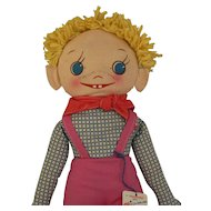 Georgene Novelties Lazy Bones 2 Faced Cloth Doll 1940's with Tag CUTE Look
