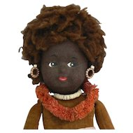Norah Wellings Large Black Island Girl Doll all original and cute.
