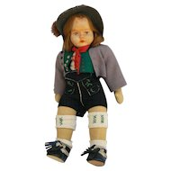 Old vintage Wood head doll all original and very cute.
