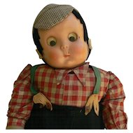 Rare Lenci Mask Face Disc eyes boy doll well loved 1930's 40's.