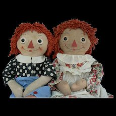 Georgene Raggedy Ann & Andy Transitional Pair 31 inches tall all original from the War years VERY Sweet.