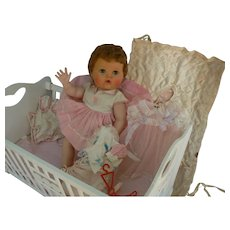 American Character Tiny Tears doll rock-a-bye eyes crib and more