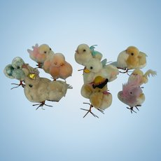 Vintage Chenille Easter Chicks and ducks 10 total.