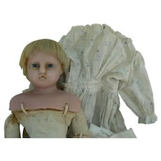ON  HOLD for Christiane ...English Poured Wax Doll all original and very sweet.
