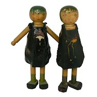 1920's Timber Tot Wood Doll with one for parts and one fixer upper doll Chicago Il.