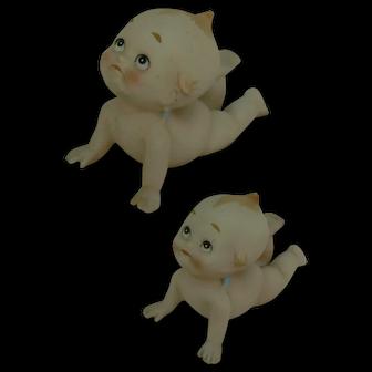 Vintage Lefton Kewpie doll and small Kewpie doll too