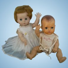 Vintage American Character Tiny Tears and Madame Alexander Kathy dolls Pair
