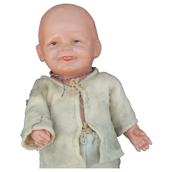 BIG Celluloid Boy Toddler doll all original and cute.